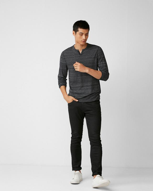 Striped Notch Neck Henley