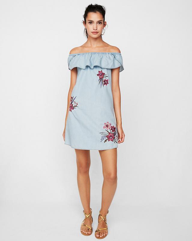 Off The Shoulder Floral Embroidered Shift Dress