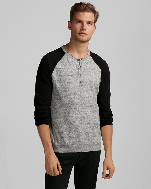 Color Block Raglan Henley Sweater