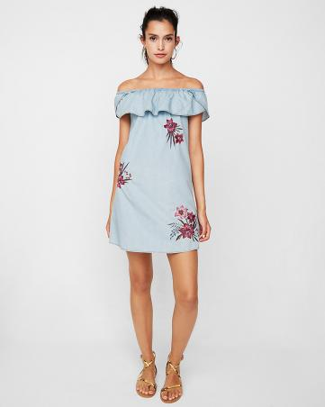Off The Shoulder Floral Embroidered Shift Dress