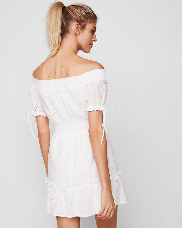 Off The Shoulder Smocked Eyelet Mini Dress