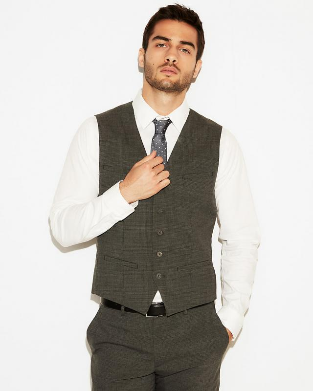 Slim Charcoal Gray Check Stretch Wool-Blend Suit Vest